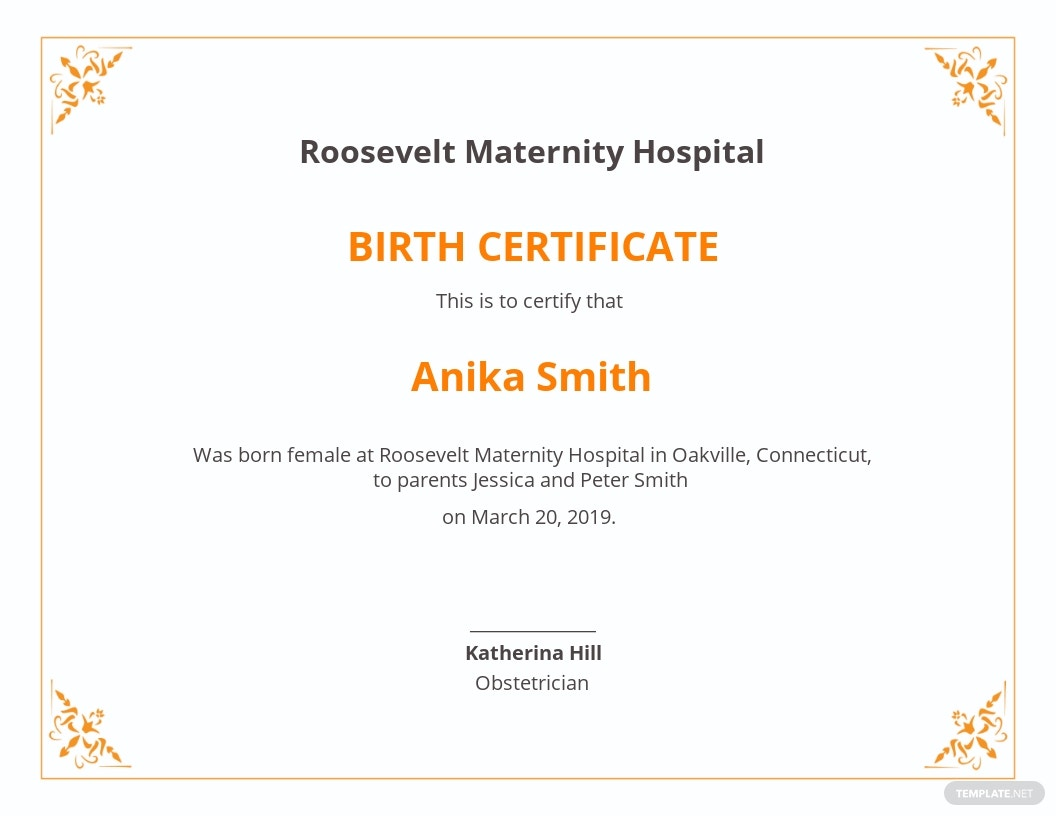 Free Official Birth Certificate Template.jpe