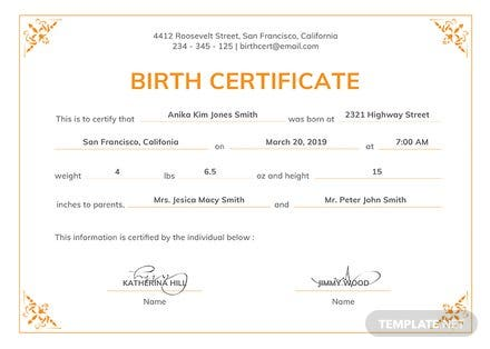 free official birth certificate template in psd ms word publisher illustrator indesign. Black Bedroom Furniture Sets. Home Design Ideas