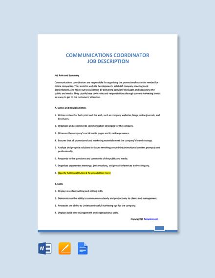 Free Communications Coordinator Job Description Template