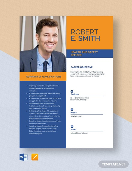 Health And Safety Officer Resume Template