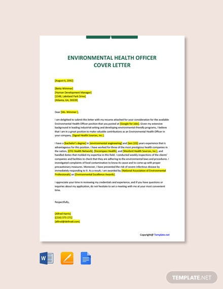 Free Environmental Health Officer Cover Letter Template