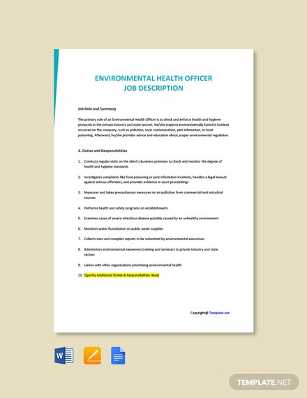 Free Environmental Health Officer Job AD/Description Template