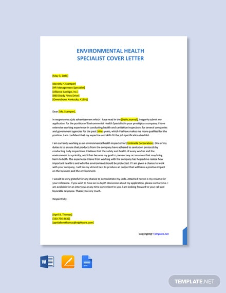 Free Environmental Health Specialist Cover Letter Template
