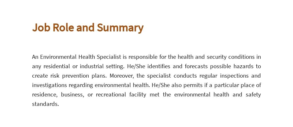 Free Environmental Health Specialist Job AD/Description Template 2.jpe