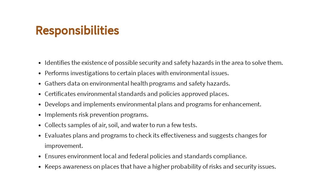 Free Environmental Health Specialist Job AD/Description Template 3.jpe