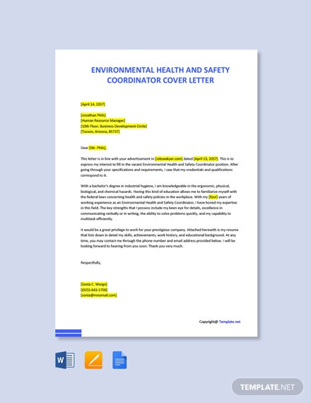 Free Environmental Health And Safety Coordinator Cover Letter Template
