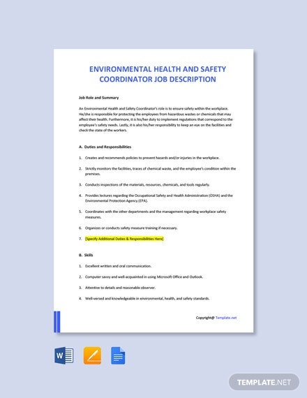 Free Environmental Health And Safety Coordinator Job AD/Description Template