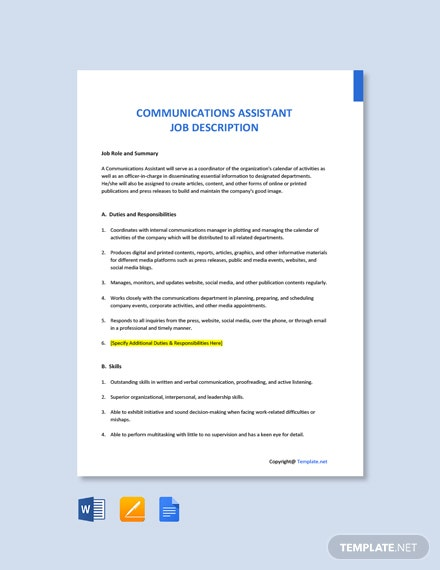 Free Communications Assistant Job Description Template