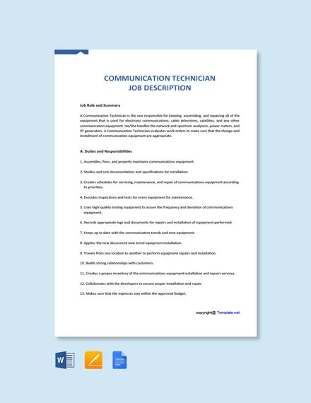 Free Communication Technician Job Description Template