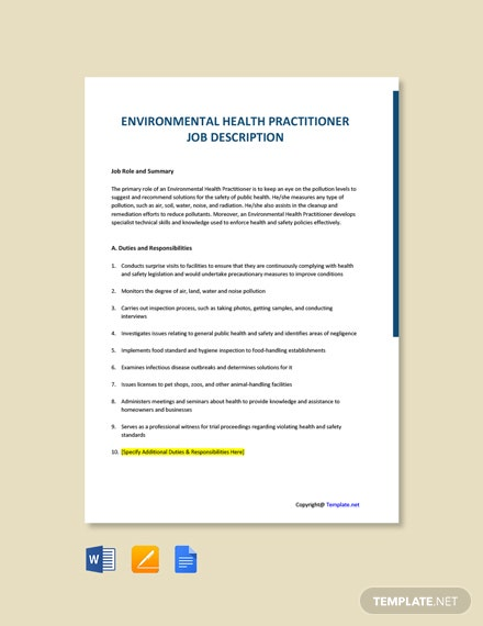 Free Environmental Health Practitioner Job AD/Description Template