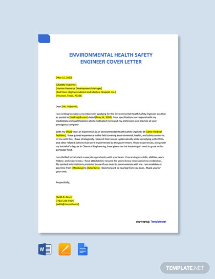 Free Environmental Health Safety Engineer Cover Letter Template