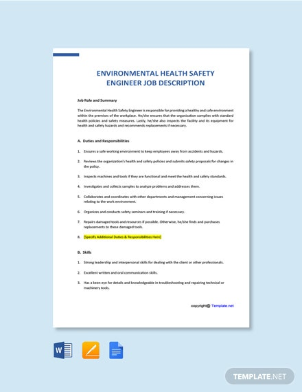 Free Environmental Health Safety Engineer Job Ad/Description Template