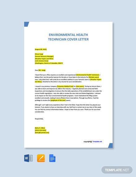 Free Environmental Health Technician Cover Letter Template