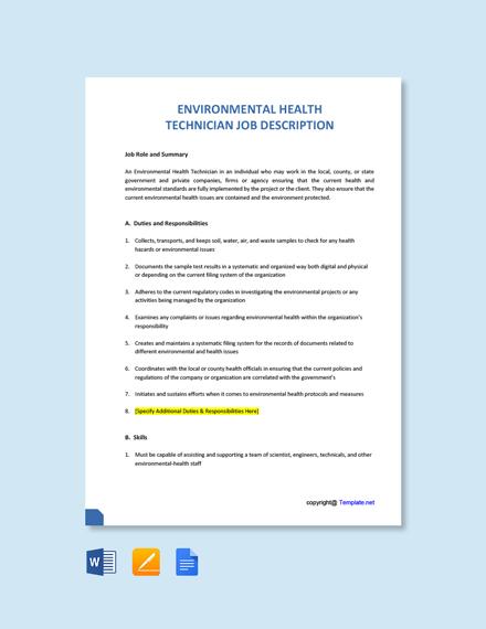 Free Environmental Health Technician Job Ad/Description Template