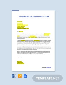 Free E Commerce QA Tester Cover Letter Template