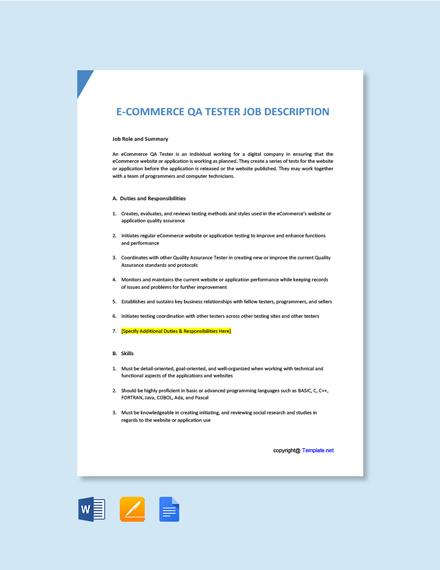 Free E Commerce QA Tester Job Description Template