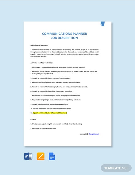 Free Communications Planner Job Description Template