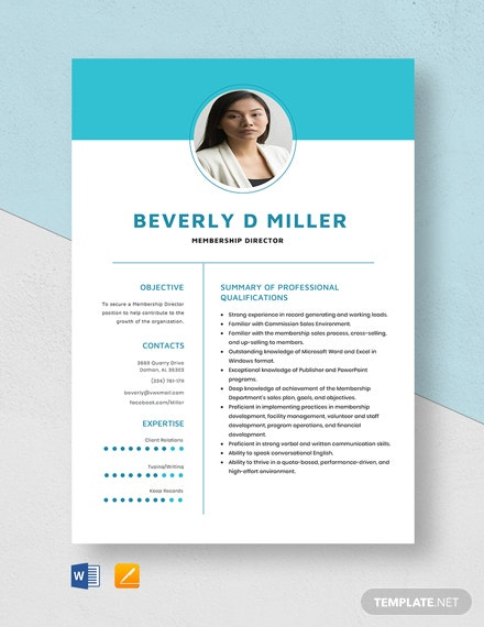 Membership Director Resume Template