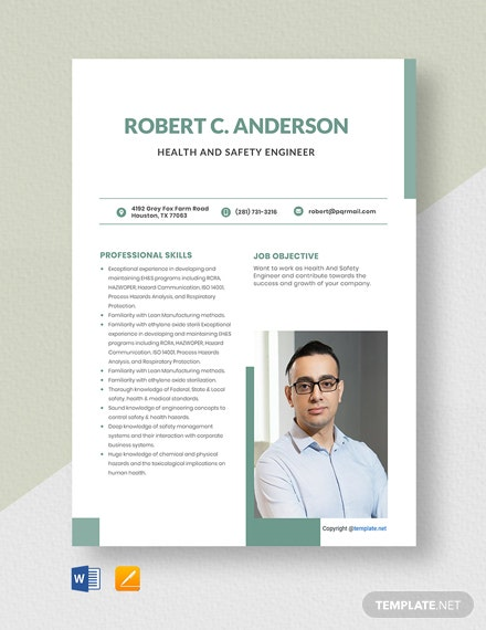 Free Health And Safety Engineer Resume Template