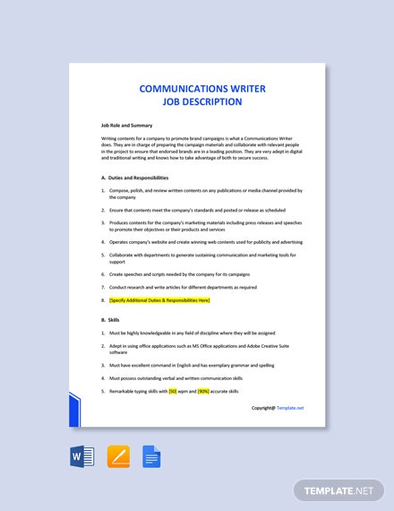 Free Communications Writer Job Description Template