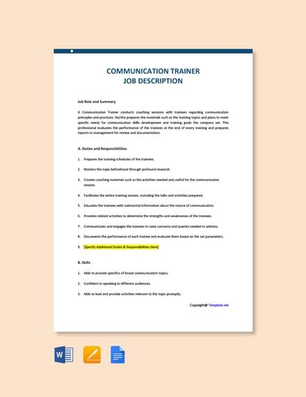 Free Communication Trainer Job Description Template