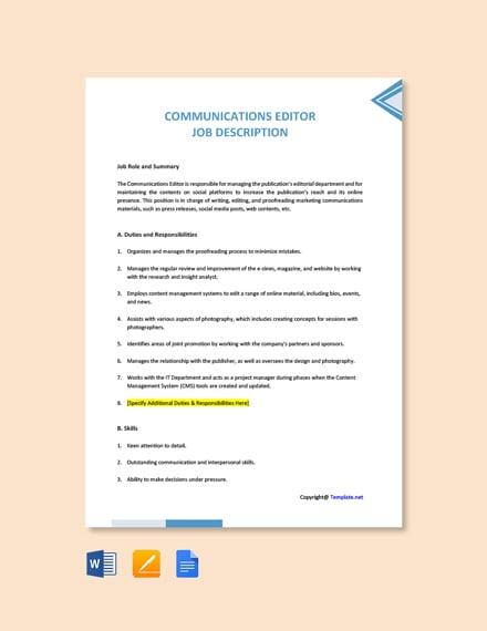 Free Communications Editor Job Description Template