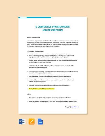 Free E Commerce Programmer Job Description Template