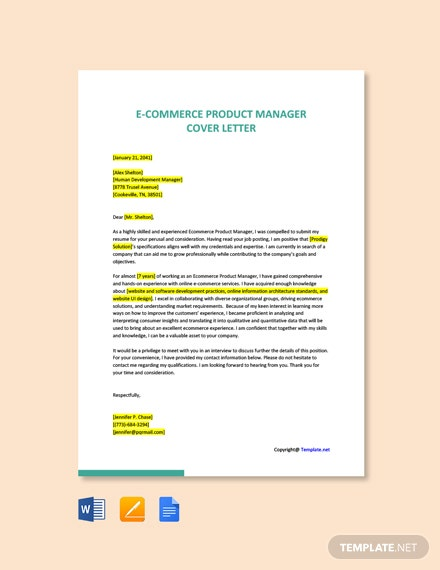 Free E Commerce Product Manager Cover Letter Template