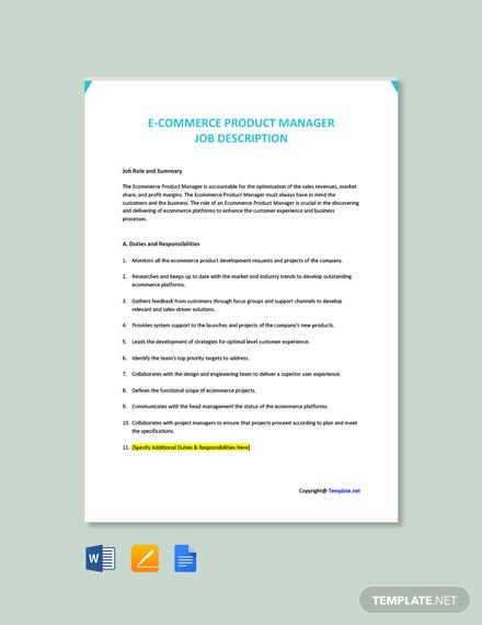 Free E Commerce Product Manager Job Description Template