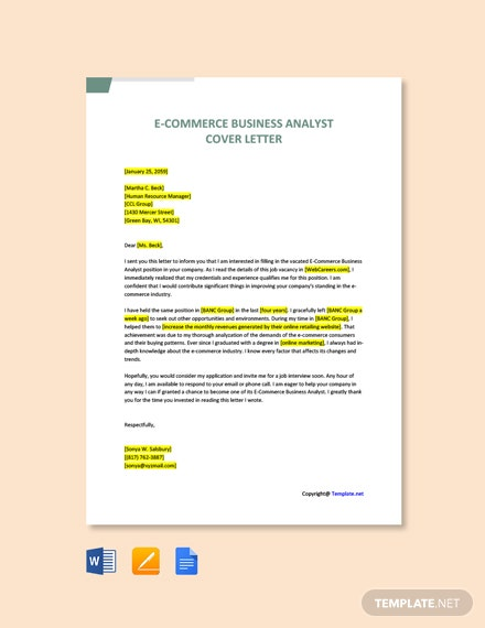 Free E Commerce Business Analyst Cover Letter Template