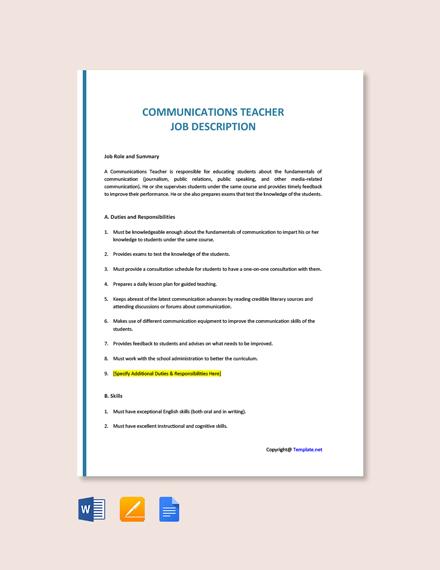 Free Communications Teacher Job Description Template