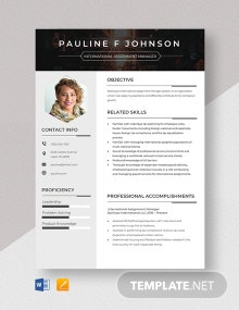 International Assignment Manage Resume Template