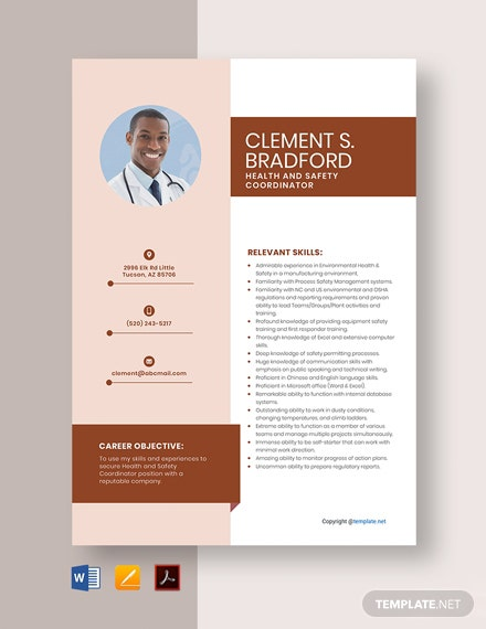 Free Health and Safety Coordinator Resume Template