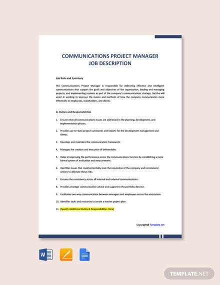Free Communications Project Manager Job Description Template