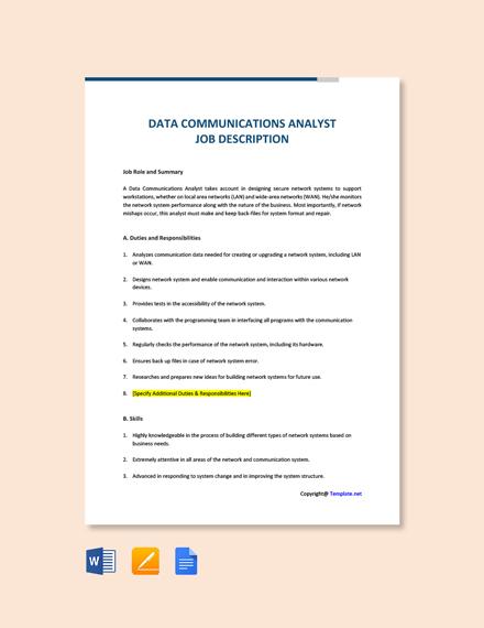 Free Data Communications Analyst Job Description Template