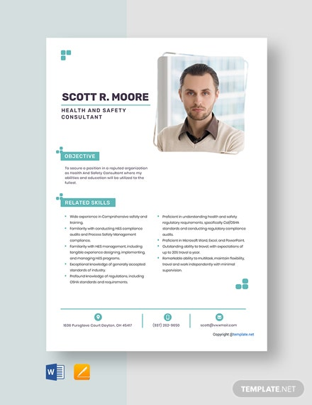 Free Health And Safety Consultant Resume Template