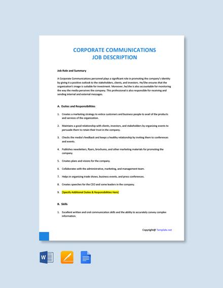 Free Corporate Communications Job Description Template