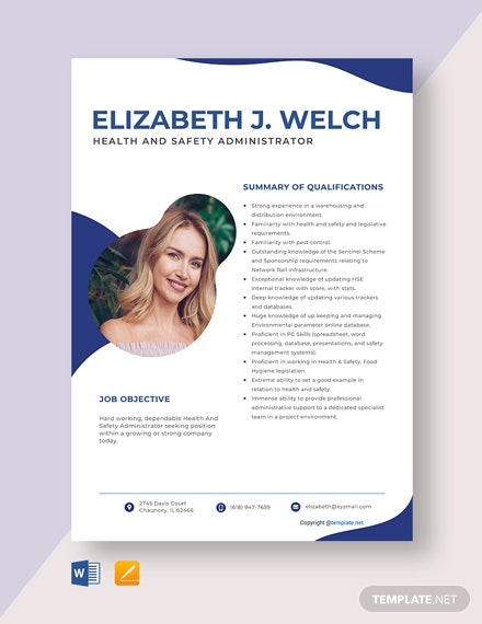Free Health And Safety Administrator Resume Template