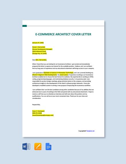 Free E Commerce Architect Cover Letter Template