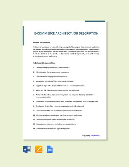 Free E Commerce Architect Job Description Template