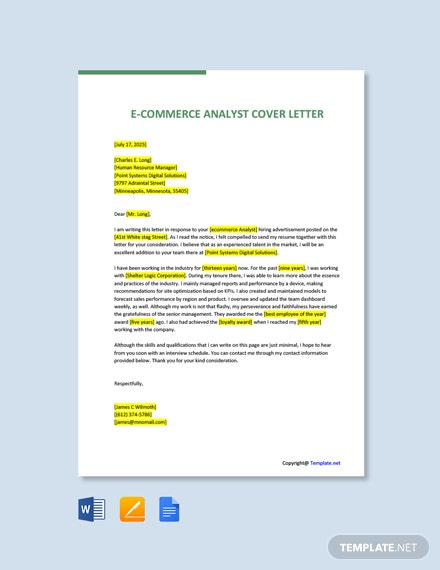 Free E Commerce Analyst Cover Letter Template