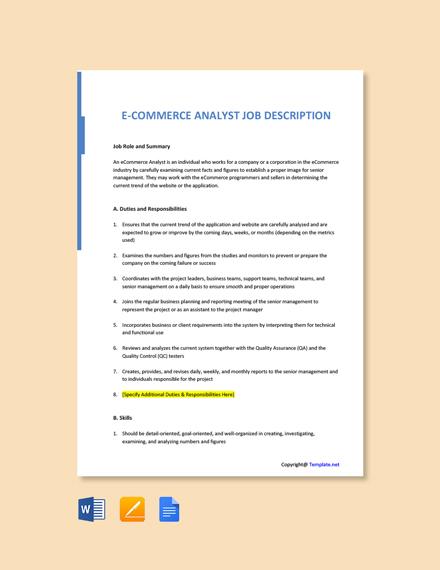 Free E Commerce Analyst Job Description Template