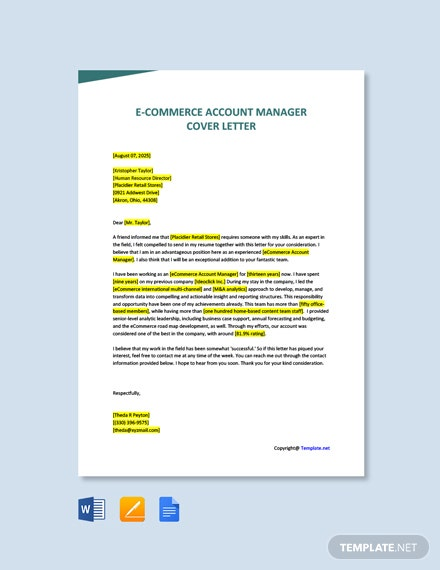Free E Commerce Account Manager Cover Letter Template