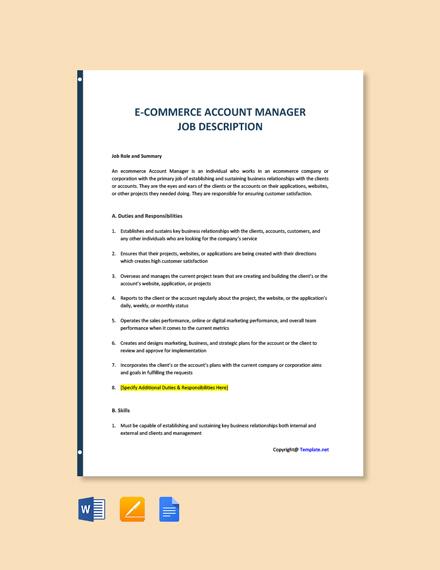 Free E Commerce Account Manager Job Description Template