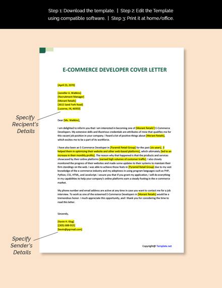 ECommerce Developer Cover Letter Template