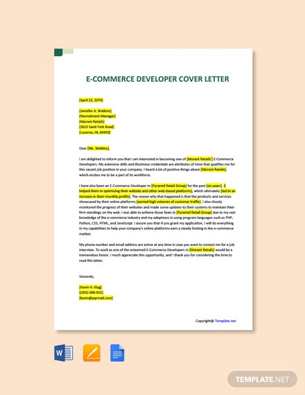 Free E-Commerce Developer Cover Letter Template