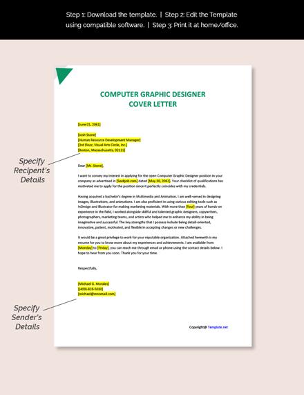 Computer Graphic Designer Cover Letter Template