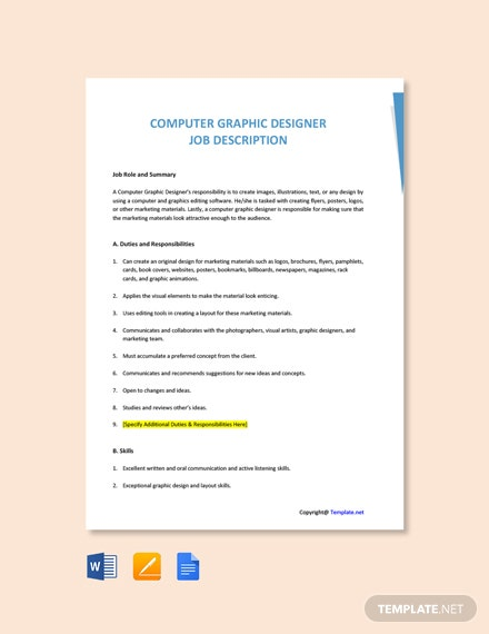 Free Computer Graphic Designer Job Description Template