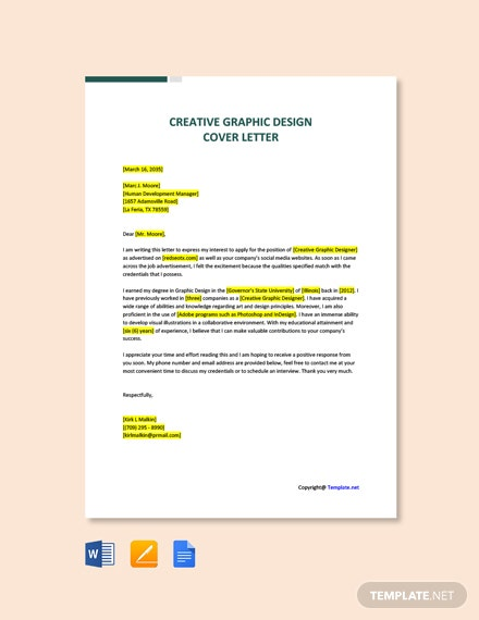 Free Creative Graphic Designer Cover Letter Template