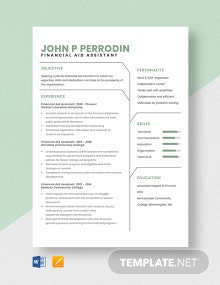 Financial Aid Assistant Resume Template